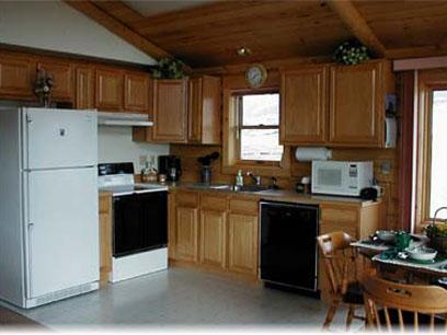 Johnstad's Log Cabin kitchen